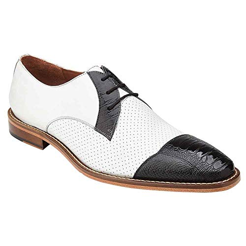 Belvedere Monaco Black & White Genuine Ostrich and Italian Calf Men's Cap Toe Shoes - 10.5