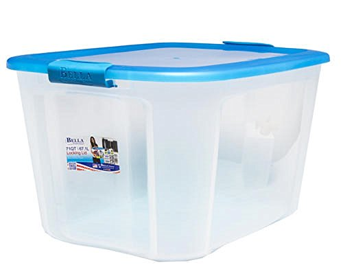 Bella Transparent Plastic Storage and Organizer Bin with Lid - Indoor and Outdoor Use, 2-Colors, Heavy-Duty - 17.75 Gallon ()