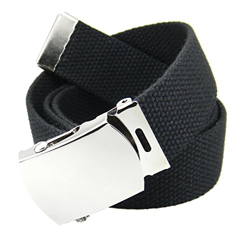 Accessories Belts 8 Kids (Boy's School Uniform Silver Slider Military Belt Buckle with Canvas Web Belt Medium Black)