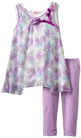 Young Hearts Little Girls' Butterfly Lace Rib Tunic 2 Piece Capri Legging Set, Purple/Pastel, 6
