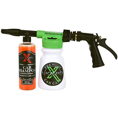 Liquid X Foam Wash Gun - Car Washing Made Simple! - Works with Regular Garden Hose (Foam Gun + Car Shampoo)