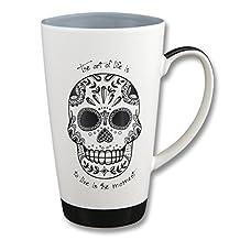 Karma, by Stephen Joseph Black and White Sugar Skull Mug, Multicolor