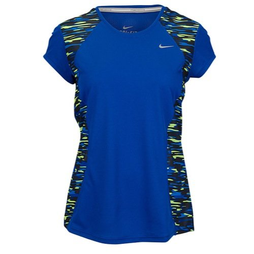 Nike Womens Dri-Fit Print Racer Running Shirt-Game Royal-XS ()