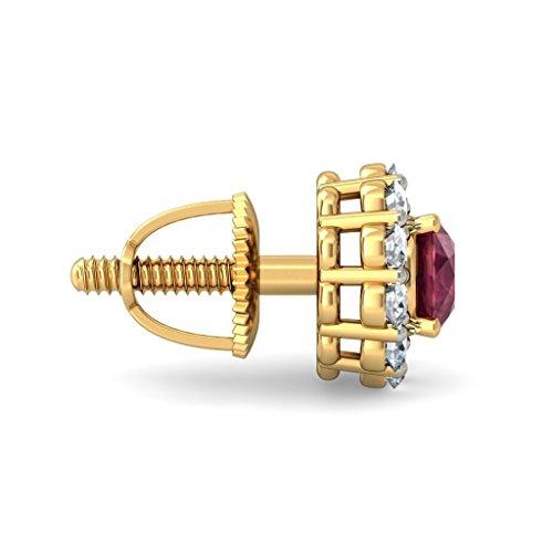 14K Or jaune 0,3CT TW White-diamond (IJ | SI) et rubis Boucles d'oreille à tige