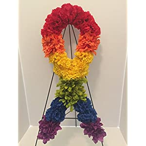 GRAVE DECOR - CEMETERY MARKER - FUNERAL ARRANGEMENT - GAY PRIDE - LGBTQ PRIDE - RAINBOW CARNATIONS, DAISIES AND ZINNIAS 5
