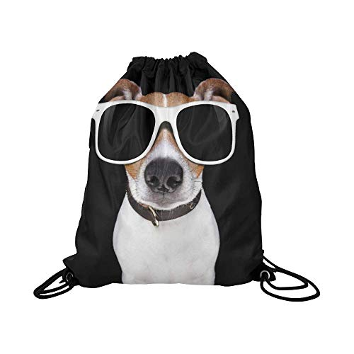 InterestPrint Funny Jack Russell Terrier Puppy Dog School Travel Daypack Gym Bag, Waterproof Polyester Basketball Drawstring Bags Backpack