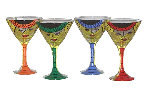 Set of 2 Whimsical Martini Glasses in Bright Color Assortment. Hand Painted.