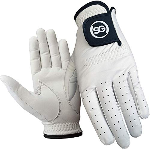 Pack of 5 Men White Cabretta Leather Golf Gloves Both Right and Left Hands (Small, Left)