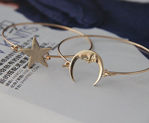 Hot New Design 1 Pair Charm Moon Star Bracelet Boho Hippie Bohemian Bangle for Best Friend (Gold)