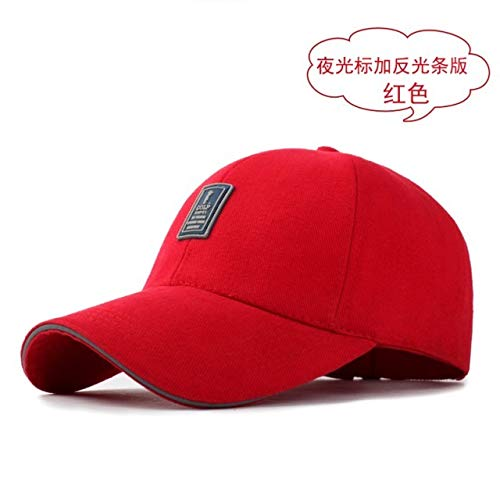 Brimmed Cloche - Men's hat Cap Spring Summer Base Casual Cap Fashion Student Youth Influx Unique Outdoor Spring Autumn Long Brimmed Sun (Standard Reflective Tape Luminous red
