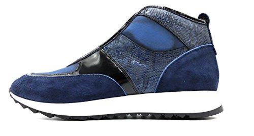 Donald J Pliner Maurio Washed Suède En Metallic Snake-print Lederen Sneaker Azul (blauw)