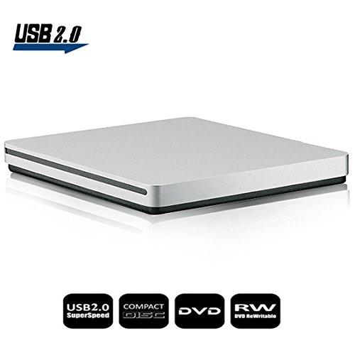 External CD DVD Drive Sunreal Ultra Slim Portable USB 2.0 CD+/-RW DVD +/-RW Burner Writer Player for Apple Mac Macbook Pro/Air iMac Laptop by Sunreal