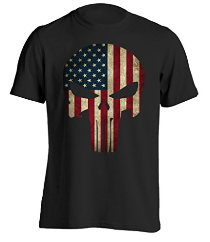 Bang Bang Apparel Men's American Flag 'Punishment' T-Shirt (Medium, Black) (Black Shirt Ops)