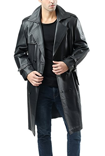 BGSD Men's Xander Classic Leather Long Trench Coat - Black M