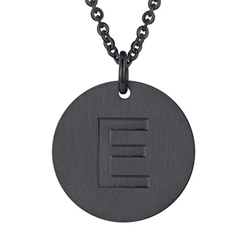 PROSTEEL Initial Letter Necklaces Monogram Alphabet E Minimalist Bridesmaid Personalized Jewelry Friendship Gift Black Coin Men Women Necklace ()