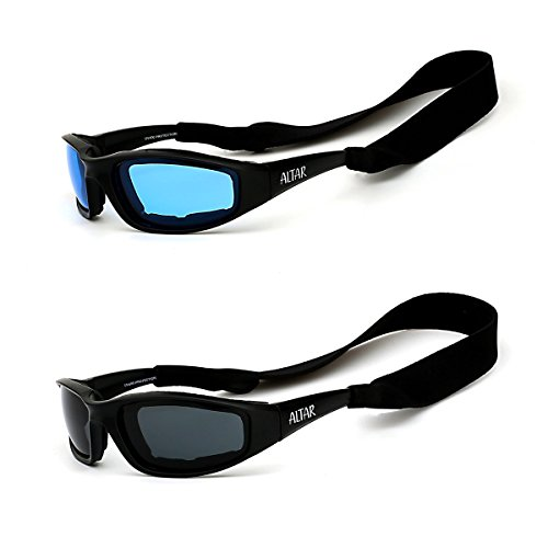 Motorcycle Riding Glasses Altar All Weather Sunglasses Anti Fog Protective Padded Goggles 2 Pair (Blue, - For Goggles Sun Men