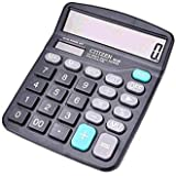 Calculator, CITIZEN Standard Function Electronics Desktop Calculators, Solar and Battery Dual Power, Big Button 12 Digit Large LCD Display, Handheld for Daily and Basic Office, Black