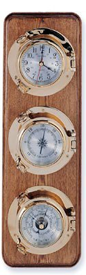 Clock, Barometer & Thermometer Brass Porthole Weather Station on Oak Wood Base -