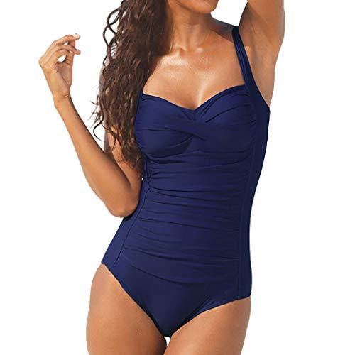 Benficial Women Summer Backless Sexy Solid Swimwear Beachwear Siamese Swimsuit Bikini Blue