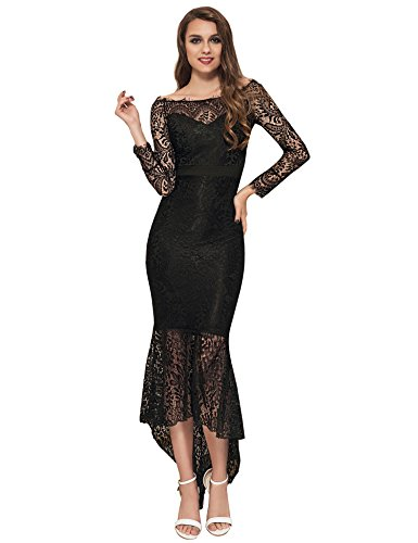 - ohyeah Women Solid Formal Lace Maxi Dress Long Sleeve Boat Neck Elegant Party Gown Mermaid Dress (Medium=US 4-6, Black)
