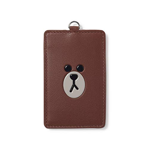 LINE FRIENDS Badge Holder - BROWN Character Faux Leather ID Card Name Tag Wallet with Neck Strap, Brown