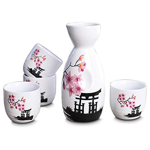 Blossom Vessel - CoreLife Sake Set, 5-Piece Traditional Handmade Ceramic Japanese Sake Set with 1 Sake Serving Bottle and 4 Sake Cups - Cherry Blossom Design