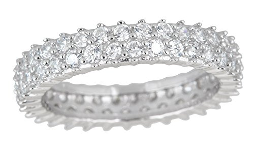 Sterling Silver 2 Row Cubic Zirconia Pave Eternity Ring ()
