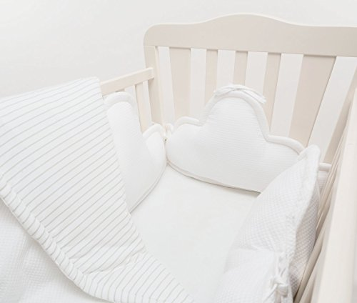 White 3 Piece Crib Bumper Set - 3 clouds pillows & baby blanket for Baby Crib, baby cot, baby bed by Pockets Baby & kids