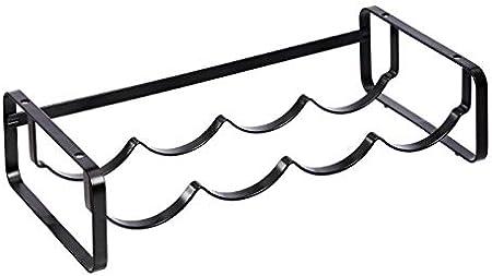 Botellero de mesa de metal para organización y almacenamiento,Su diseño ondulado forma unos huecos q