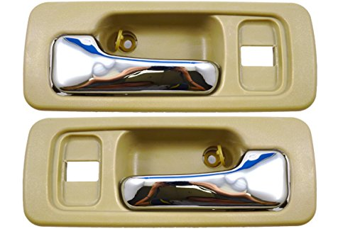 PT Auto Warehouse HO-2578ME-FP - Inside Interior Inner Door Handle, Beige/Tan, Chrome Lever - Front Left/Right Pair (1993 Honda Accord Right Door)