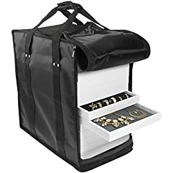 "SE JT915TCB Jewelry Carrying Case Holds Fourteen 1"" Trays (Black)"