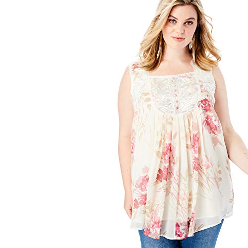 (Roamans Women's Plus Size Sleeveless Chiffon Top - Blush Graphic Print, 24 W)