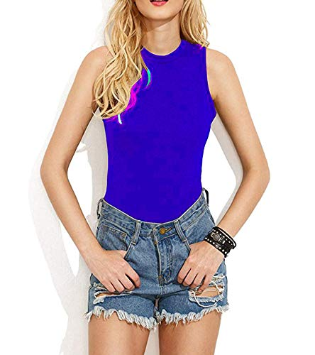 (AOYOG Women's Bodysuit Tops Sleeveless Backless Halter Bodysuit Jumpsuit Stretchy Bodice Leotard Royal Blue)