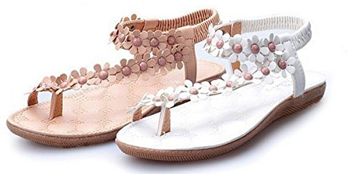 Women Bohemia Style Sling Sandals Flower Beads T-Strap Flip Flop Flats Slip On Thong Sweet Shoes (Beige, 9 B(M) US/40EU)