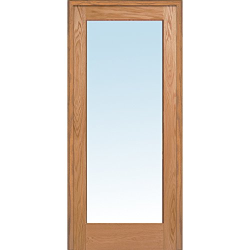 National Door Company Z019986L Unfinished Red Oak Wood 1 Lite Clear Glass, Left Hand Prehung Interior Door, 36'' x 80'' by National Door Company