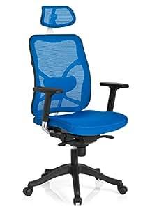 HJH Office 700030 Taurus Max - Silla de oficina con respaldo de red, color azul