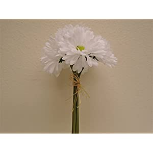 "WHITE Gerbera Daisy Bundle 7 Artificial Silk Flowers 12"" 8665WT 84"