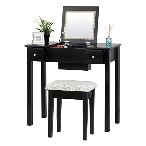 Fineboard FB-VT23-BK Dressing Mirror LED Lights and Stool Makeup Vanity Table, Brown, Black