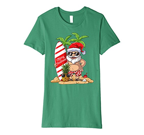Womens Santa Hawaiian Surfing T Shirt Christmas Summer Surf Hawaii Medium Kelly - Made Hawaii Sunglasses In