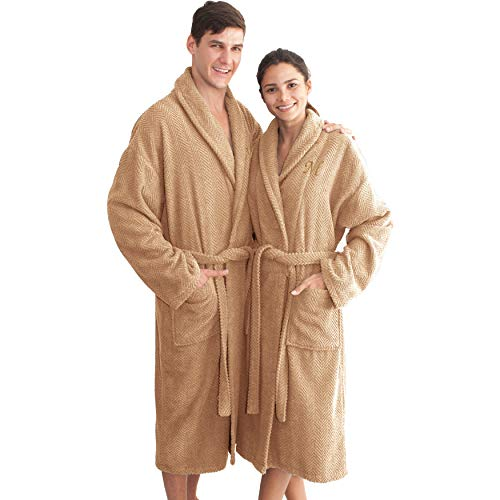 Authentic Hotel and Spa Sandy Tan with Gold Monogrammed Herringbone Weave Turkish Cotton Unisex Bath Robe Tan E Small/Medium