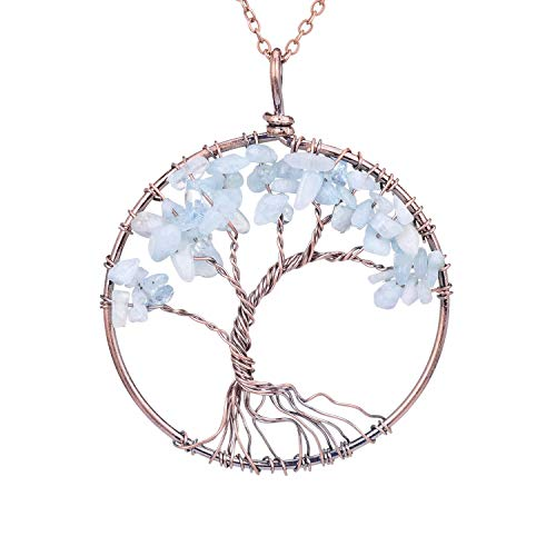 - Tumbled Natural Raw Semi Precious Aquamarine Stone Tree of Life Pendant Necklace Handmade Crystal Healing Chakra Gemstone Birthstone Family Root Wire Wrapped Tree Life Jewelry Necklace for Mother