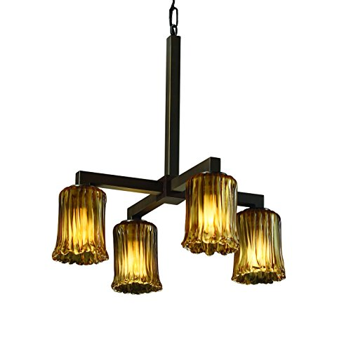 - Justice Design Group Veneto Luce 4-Light Chandelier - Dark Bronze Finish with Amber Venetian Glass Shade