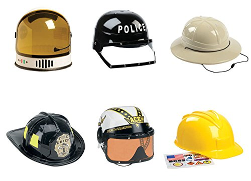 Aeromax Youth Astronaut, Firefighter, Armed Forces Pilot, Construction, Police and Pith Helmet Set (Set of 6)