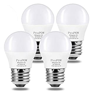 LED Refrigerator Light Bulb, ProPOW 40W Equivalent 120V A15 Fridge Bulbs 5 Watt Daylight White 5000K E26 Medium Base, Energy Saving Freezer Ceiling Home Lighting, Not-Dim, Waterproof, 4 Pack