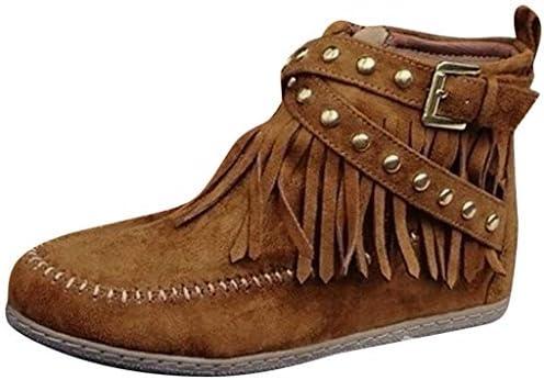 [해외]Driuankeji Womens Fringe Boots Side Zipper Ankle Booties Comfortable Flats Ladies Fashion Rivets Shoes / Driuankeji Womens Fringe Boots Side Zipper Ankle Booties Comfortable Flats Ladies Fashion Rivets Shoes Yellow