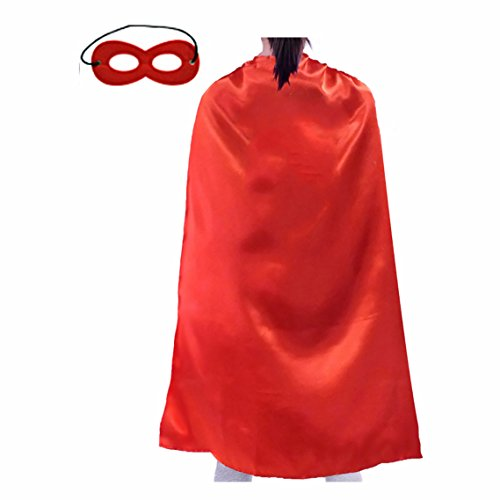 Opromo Superhero Capes And Masks Set, Halloween Costumes And Dress Up For Kids & Adults-Red-27 1/2
