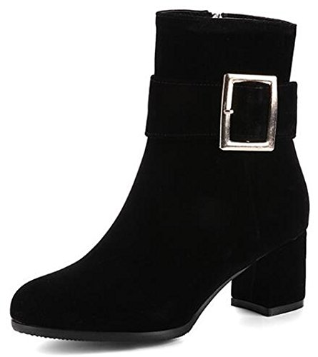 IDIFU Womens Dressy Round Toe Side Zipper Ankle Boots Faux Suede Mid Chunky Heels Short Booties Black SioaK5o