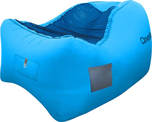 Bottle Lounge (CleverMade Quikfill Outdoor Inflatable Lounge Chair with Carry Bag Bottle Opener & Ground Stakes, Blue)