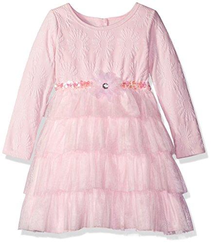 Sweet Heart Rose Girls' Little Knit Jacquard Dress with Mesh Tutu Tiers, Pink -