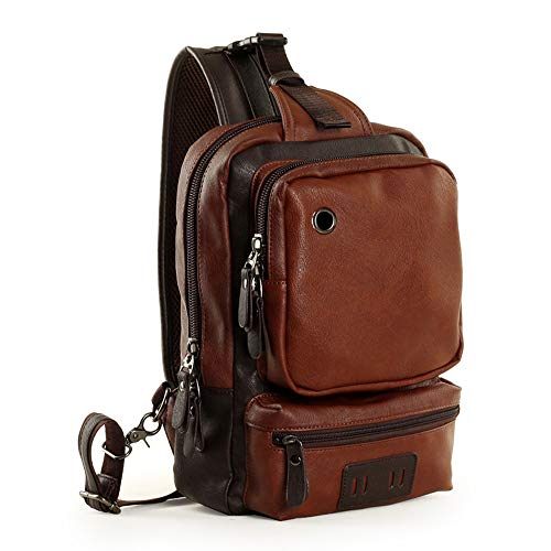 Gfeu Shoulder Leather Outdoor For Pu Bags Rucksack Chest Multipurpose Sling Hiking Leather Camping Travel Gym Brown Cross body Perfect Men Vintage Backpack Cycling FTn5zwwIxq